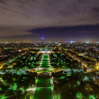 Night view from the Eiffel Tower - Stock Photo