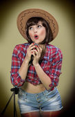 Country style  pIn- up girl — Stock Photo