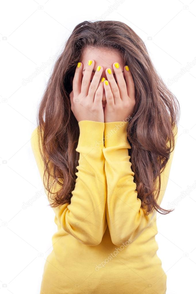 photo of girls who hide her face with hair № 22547