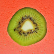 Fresh slice of kiwi fruit on red background drops — Stock Photo