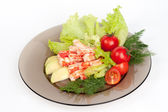 Crab meat with fresh vegetables — Stock Photo