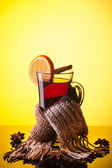 Mulled wine on yellow — Stock Photo