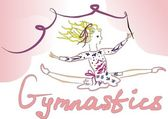 Gymnast with ribbon — Stock Vector