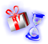 Time for shopping. Hourglass with sand instead of gifts — Stock vektor