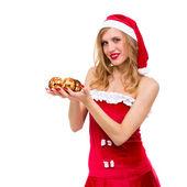 Noel baba kılığında kıyafet giyen kadın — Stok fotoğraf