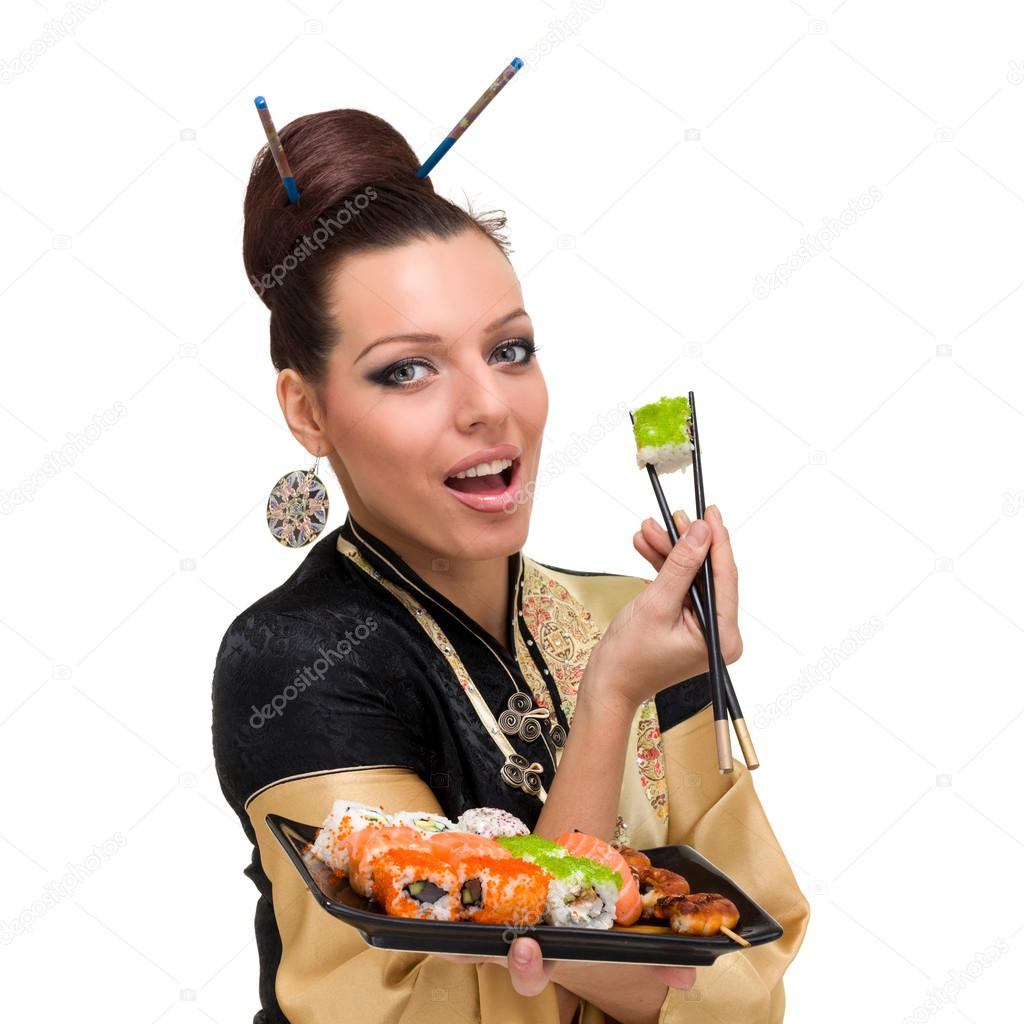 Close up portrait of young woman with sushi, isolated on white background. — Stock Photo #13379487