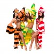 Three young sexy carnival dancers posing — Stock Photo #13762718