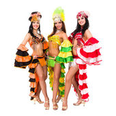 Three carnival dancers posing — Stock Photo
