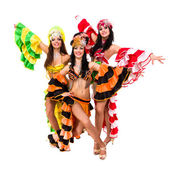 Three beautiful carnival dancers posing — Stock Photo