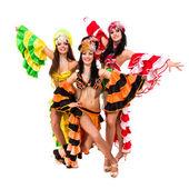 Three beautiful carnival dancers posing — Stock Photo