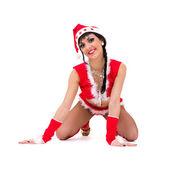 Sexy girl wearing santa claus clothes — Stockfoto