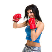 Fit woman boxing, isolated over a white background — Stock Photo