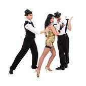 Drei junge tänzer altmodisch — Stockfoto