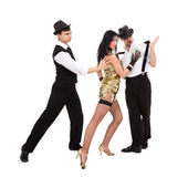 Three young old-fashioned dancers — Stock Photo