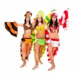 Stock Photo: Three carnival dancers posing