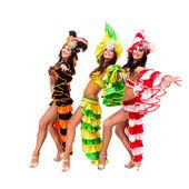 Three carnival dancers posing — Stock Photo