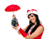 Santa claus with an umbrella and Christmas — Stock Photo