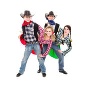Smiling cowboys and cowgirls dancing — Stock Photo