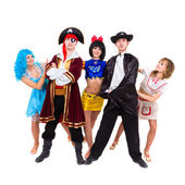 Bailarines con trajes de carnaval posando — Foto de Stock