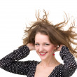 Portrait of woman with fly hair — Stock Photo
