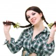 Friendly smiling girl with pigtails - Stock Photo