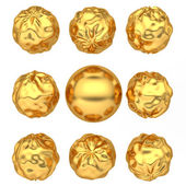 Abstract deformed golden balls — Stock Photo
