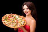 Young woman with pizza — Stock Photo