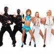 Actors dressed as angels and demons posing — Stock Photo #16997013