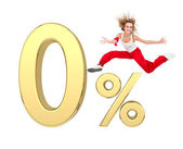 Girl jumping above gold 3d zero percent sign — Photo