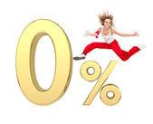 Jeune fille sautant au-dessus or 3d zéro signe pourcentage — Photo