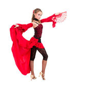 Gypsy woman dancing with fan against isolated white background — Stock Photo