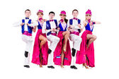 Cabaret dancer team dressed in vintage costumes — Stock Photo