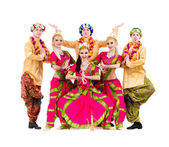 Dancers dressed in Indian costumes posing — Foto Stock