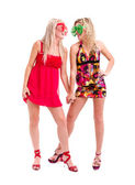 Two women in crazy clown glasses — Stock Photo