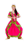 Retrato do comprimento total da mulher indiana dançando — Fotografia Stock