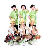 Dancer team wearing a folk ukrainian costumes — Stock Photo