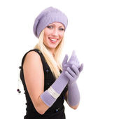Woman in white knit wool hat and mittens — Stock Photo