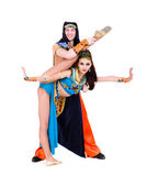 Acrobatic dance couple perform stunt — Stock Photo