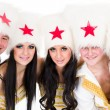 Smiling dancer team wearing a cossack costumes — Stock Photo