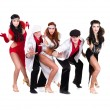 Cabaret dancer team dressed in vintage costumes - Foto Stock