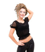 Portrait of young smiling woman with dreadlocks. — Stock Photo