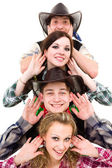 Cabaret dancer team dressed in cowboy costumes — Stock Photo