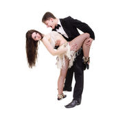 Young elegant couple dancing — Stock Photo