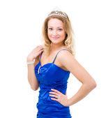 Woman in a blue dress with diadem — Stock Photo