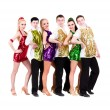 Disco dancer team. Isolated on white. — Stock Photo