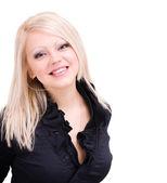 Smiling woman on white background — Stock Photo