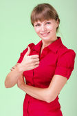 Image of attractive woman showing thumbsup — Stock Photo