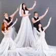 Actors in the wedding dress posing. — Stock Photo