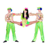 Acrobat carnival dancers doing splits — Stock Photo
