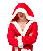 A muscular man in an open hooded jacket — Stock Photo